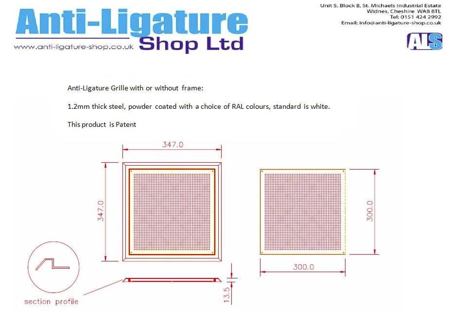Anti Ligature 187 Data Sheets